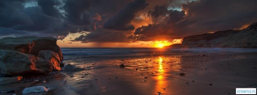 tło zachód słońca nad oceanem na facebooka oś czasu