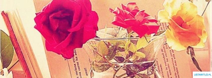 tło tapeta róże we flakonie na facebooka oś czasu