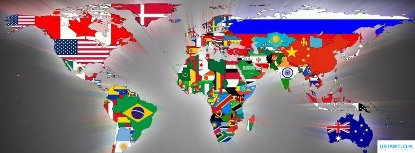 tło Mapa polityczna świata na facebooka oś czasu